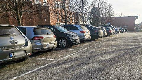 PÅ RAD OG REKKE: Av de 72 bilene som stod parkert ved rådhuset 14. februar, var 51 av dem el-biler.