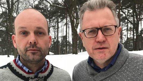 KOMMUNENE STÅR SAMLET: Sindre Martinsen-Evje og Erik Unaas står sammen med sine ordførerkolleger på kravet om at aksjene i Østfold Energi AS skal bli værende i dagens Østfold.