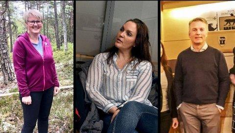 TETT PÅ: KFU-medlemmene (f. v.) Ellen Hasle Kokkim, Kristine Oshaug Andersen og Knut Erik Kristiansen har god oversikt over hvor skoen trykker for korona-trette foreldre og elev.