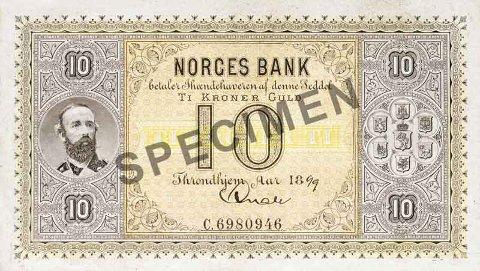 Norges første tikroner-seddel ble produsert mellom 1877 og 1901, men ble første regnet som ugyldig i 1998.