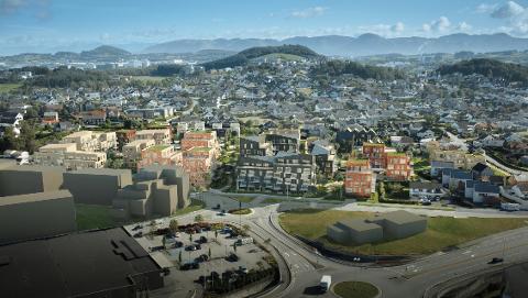 Slik kan det se ut når tomten på Sandesletta er bygd ut med inntil 403 boliger. I forgrunnen ligger Helgø Meny-bygget og McDonalds-restauranten.