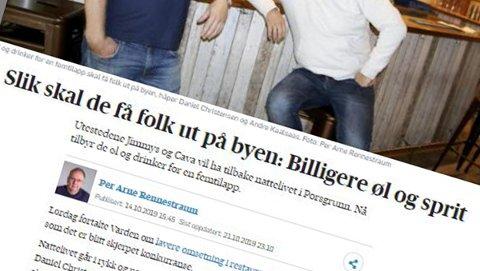 KLAGE:Helsedirektoratet har mottatt klage på en artikkel Varden hadde om to skjenkesteder i Porsgrunn som dumpet prisene på alkohol.