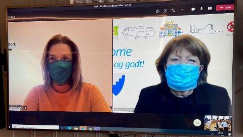 ANBEFALER MUNNBIND: Siri Blichfeldt Dyrland, ordfører i Midt-Telemark kommune og Bjørg Tveito Lundefaret, ordfører i Nome kommune anbefaler bruk av munnbind.