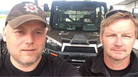 Bidrar i Sverige: Geir Atle Kvendset (t.v.) og Per Egil Fiske er i skrivende stund på vei til Sveg i Sverige, hvor de skal slutte seg til et brannlag fra Midtre Gauldal. Sammen skal de bidra til å slokke de store skogbrannene i nabolandet.