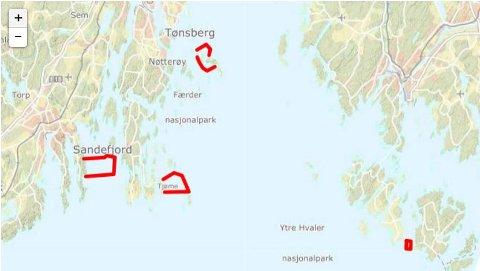 FREDNINGSOMRÅDET: Kartet viser fredningsområdene for hummeren i distriktet vårt. Illustrasjon: Fiskeridirektoratet