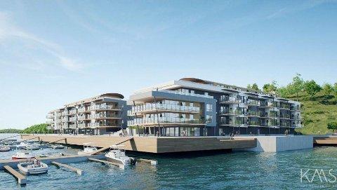 USIKKERT: Leilighetene i boligprosjektet Solnes Brygge i Melsomvik gikk unna ved salgsstart, men nå lar utbyggingen vente på seg etter at entreprenøren gikk konkurs i januar.