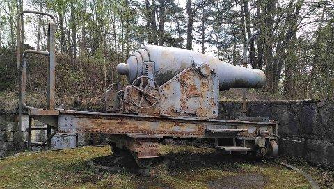 Slik så kanonene ut før arbeidet startet.