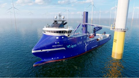 REM Offshore AS har skrevet kontrakt med Green Yard Kleven i Ulsteinvik om å bygge et havvindfartøy. Skipet er designet av Havyard Design & Solutions AS og er av typen «HAVYARD 833 CSV». Illustrasjon: Havyard Design & Solutions AS