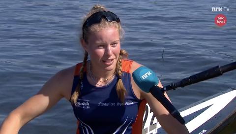 PÅ TV: Celine Helleren ble intervjuet av NRK like etter løpet