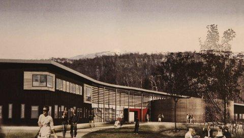 Sjunkhatten folkehøyskole: Slik tenker man seg den nye skolen, som er planlagt plassert øst for Valnesfjord helsesportsenter.