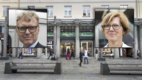 Holbergstuen-eier Kjetil Smørås (til v.) og direktør Gro Kristin Boge i DNB Næringseiendom ble aldri enige om leiebetingelsene for byens eldste restaurant, som nå forsvinner fra Torgallmenningen. Aktørene har ulikt syn på hva som gikk galt.