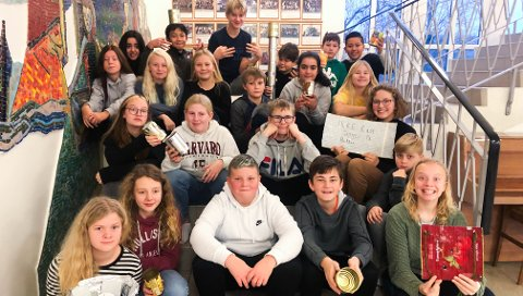 VINNARKLASSE: 7b ved Husabø skole samla inn mest aluminiumsemballasje per elev, og får ein klassetur i premie.