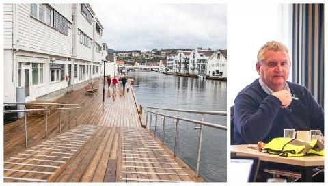 LOOK TO FLEKKEFJORD: Kjell Vidar Nygård (H) synes elvepromenaden i Flekkefjord er blitt fantastisk. Han mener målet bør være å få til noe lignende også i Egersund.