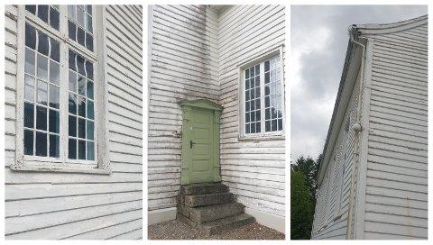 TRENGER VEDLIKEHOLD: Kurt Sæstad (Ap) synes ikke Helleland kirke tar seg godt ut om dagen. Ifølge kirkevergen skal den males i løpet av sommeren.