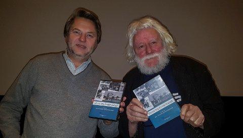Historien: Jens Olav Simensen (til venstre) og Gunnar Bjerketvedt har laget en film på 53 minutter med glimt fra byens historie.
