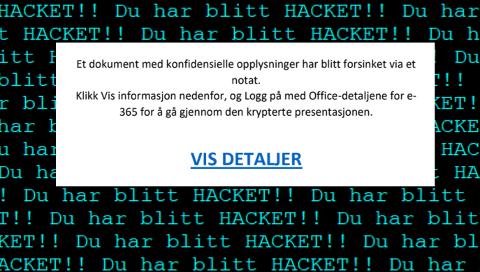 HACK: Budskapet i det hvite feltet på collagen ble sendt i hopetall fra Terje Karstensens epost-konto. Linken leder til en innlogging som hackerne kontrollerer.