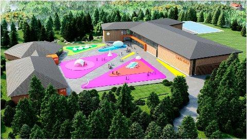 Slik kan nye Lunde skole bli: Et Y-bygg i to etasjer i massivtre.  Det er iallfall denne skissen arkitektene jobber med akkurat nå.
