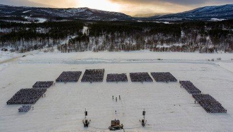 Brigade Nord oppstilt på Artillerisletta ved Setermoen leir, i anledning vinterøvelsen Joint Reindeer, søndag 11. mars 2018. Foto: Ole-Sverre Haugli/Forsvaret