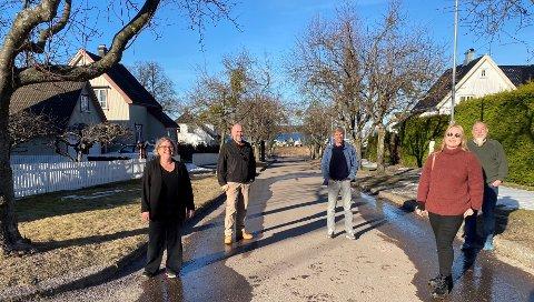 ENIGE: Denne gjengen sikrer bred politisk enighet om å opprettholde strenge bestemmelser i Hagebyen. Fra venstre: Christina Bratli (Ap), Eddy Robertsen (V), Svein-Erik Figved (MDG), Katja Halvorsen (SV) og Terje Randem (Rødt).