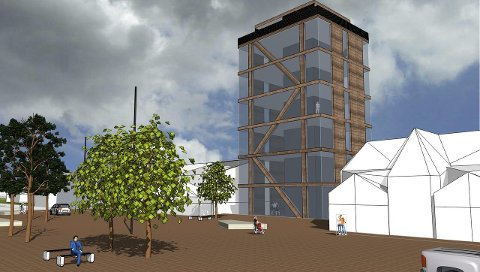 Flisatårn: Slik kan Flisatårnet se ut, og det blir et blikkfang mot sentrum.Tegning: Landsbyprosjektet