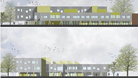 MASSIVT TRE: Detaljplanleggingen av nye Kongsvinger ungdomsskole har resultert i at det brukes enda mer massivt tre i bygget enn først tenkt. Det betyr blant annet iøynefallende og stilfulle fasader med massivt tre midt i en skogregion. Slik blir fasadene mot vest og sør.ILLUSTRASJON: HLM ARKITEKTUR