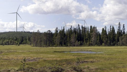 SLIK: Vindmøllene, her visualisert med utsikt fra Kjølbergmyra, kan bli påbegynt allerede i vinter. Både turistforeningen og Finnskogen Natur- og kulturpark reagerer.FOTOMONTASJE: SWECO