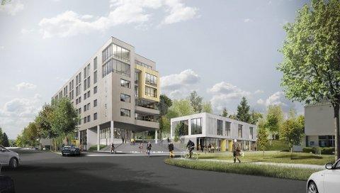 ANBEFALING: Et endelig vedtak ligger fortsatt et stykke fram i tid, men kommuneadministrasjonen anbefaler at utredningene for kino- og konferansedelen av hotellplanene i Byparken tar sikte på fire nye kinosaler. I tillegg kan det bli aktuelt å bygge en parkeringsgarasje mellom rådhuset og biblioteket. ILLUSTRASJON: LINK ARKITEKTUR