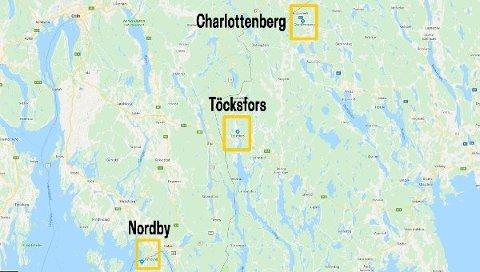 SVENSKEGRENSEN: Gigantsentrene Charlottenberg, Töcksfors og Nordby ligger på rad og rekke langs svenskegrensa. Alle slo nye omsetningsrekorder i 2019.