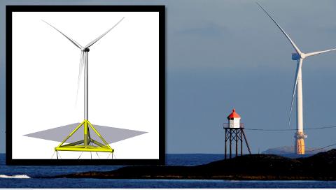 NYKOMMER: TetraSpar (til venstre) skal være av nyeste teknologi. Til høyre ser vi en versjon av Equinors Hywind som allerede er i produksjon i verdens første flytende vindpark i Skottland.
