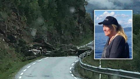 Raset gikk før klokken 10 mandag morgen ved Fornes. Statens vegvesen har tilkalt entreprenør for å rydde veien.