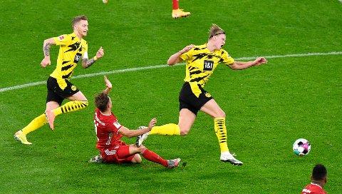 IKKE NOK: Erling Braut Haaland hadde en scoring i kampen mot Bayern München.