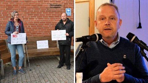 MANGE SPØRSMÅL: Folkeaksjonen mot nedleggelse av legevakta, her ved Linda Helen Andersen og Roar Welton Jacobsen, hadde sendt ordfører Grunde Wegar Knudsen (Sp) en rekke spørsmål.