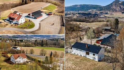 Valgets kvaler: Det er ikke ofte tre landbrukseiendommer som disse ligger ute for salg samtidig. Øverst til venstre er Vestsideveien 174, nederst til venstre Vestsideveien 155 og gården på Nordal i Trollerudveien er til høyre.