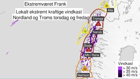 HOLD PÅ HATTEN: Når ekstremværet Frank treffer Namdalen torsdag, ventes vindkast opp mot 40 meter i sekundet.