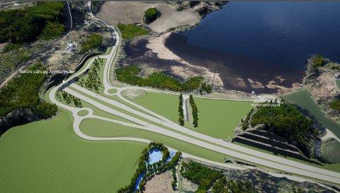 HALVKRYSS: Slik er krysset på ny E6 planlagt i Vassmarka, nord for Åsen.