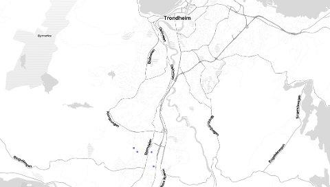 I løpet av den siste timen, fra klokka 21.15 til 22.15 mandag, var det registrert fire lyn i sørlige deler av Trondheim.