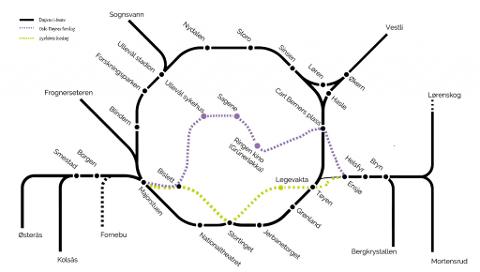 Høyres lilla-farvede nye bane dekker større deler av indre by enn byrådets grønne forslag.