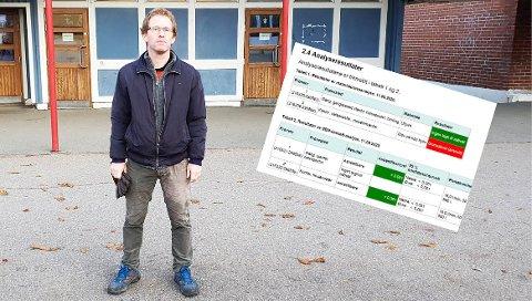 BEKYMRET: Thor Hirsch har sendt henvendelser til bydelen, Undervisningsbygg og Folkehelseinstituttet om det han mener er bekymringsfull slitasje på vegger og gulv på Lambertseter skole. Til slutt ble det funnet spor av asbest i et rom på skolen.