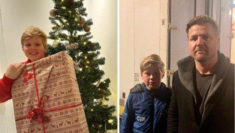 LYKKELIG SLUTT: Det som startet som en lei opptakt til julen, fikk en lykksalig ende for Andreas Hobbelin og sønnen Charles (11).