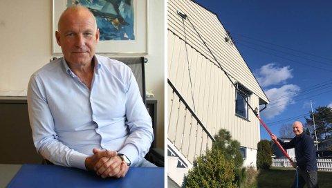 SATSER: Paul Bukier lar ikke koronautbruddet skremme ham fra å starte ny virksomhet. – Jeg er overbevist om at det går over, sier gründeren, som til høyre er avbildet med en vannbåren teleskopstang.