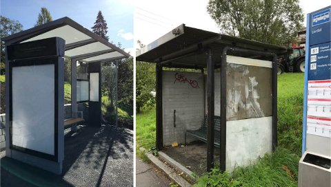 FØR OG NÅ-bilder fra holdeplassen Lerdal i Søndre Nordstrand, hvor utbedringer er gjort fra før, viser forandringen.