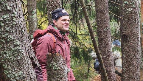 TURGLAD: Finansbyråden brukte palmesøndag til å ta en tur i skogen i Østmarka med familien.