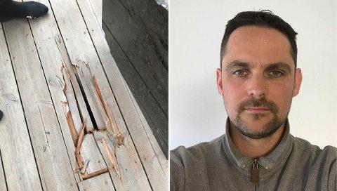 SKADE: Slik så plattingen ut etter å ha blitt truffet av stein fra tomta over.  – Man kan ikke stå oppe i haugen der og grave i fjell og ikke sørge for sikring, sier Kristian Gilbø.