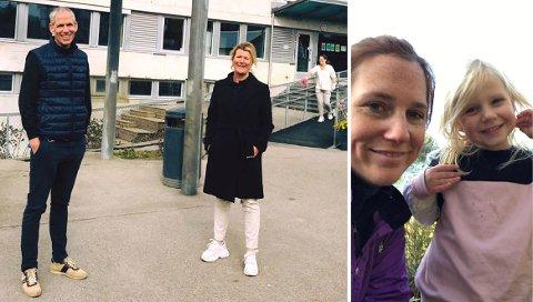 – TAKK: Caroline Oddvang - avbildet med datteren Ellie (5) til høyre - er fra seg av begeistring for Rosenhagen barnehage og leder Trine-Lise Lysholm. Til venstre ses Lysholm sammen med bydelsdirektør Tore M. Andresen.