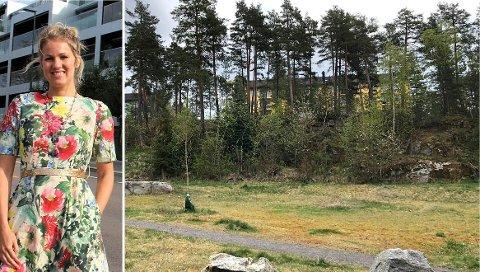 Dagny Thurmann-Moe frykter at det planlagte boligprosjektet vil rasere dette naturskjønne område på Midtåsen med de karakteristiske 50-tallsblokkene.