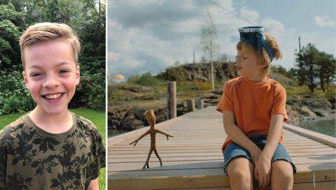 FILMSKUESPILLER: Her er Filip Mathias henholdsvis privat hjemme på Munkerud og i rollen som Lillebror i den nye Knerten-filmen.