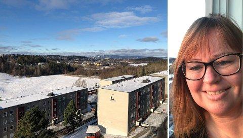 Ellen Marie Strand bor i en toppleilighet i  Paal Bergs vei 6. Hun mener god utsikt er verdt å betale for.