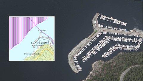 Det innfelte kartet viser hvor rekefeltet ligger i forhold til nåværende småbåthavn.