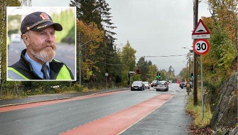 Her i Ekebergveien, like ved Nordseter skole, ble fartsgrensen senket til 30 kilometer i timen i 2019. Tirsdag denne uken ble flere bilister bøtelagt her.