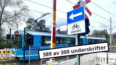 Heretter er det kun mulig å sykle ut i Ekebergveien fra Kastellveien.